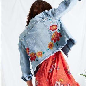 Neon Rose Embroidered Denim Jacket